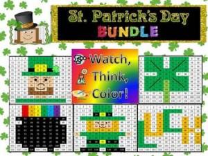 St. Patrick's Day Bundle Watch, Think, Color Games - EXPANDING BUNDLE