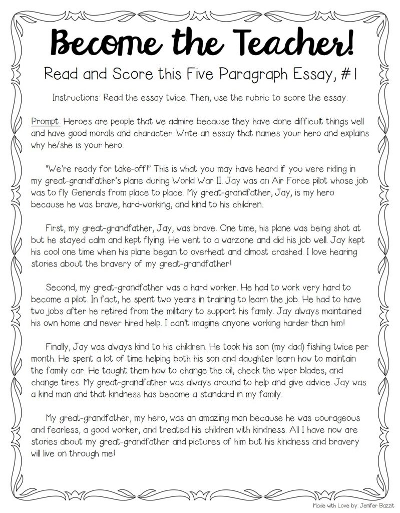 Sample 5 paragraph essay