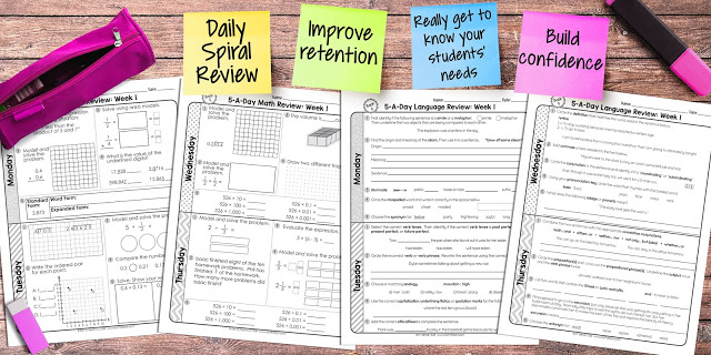 Daily Spiral Review consists of 3-5 daily (M-Th) tasks that cycle through all content standards on a weekly basis. This means that students are getting exposure to all concepts on a regular basis all year long.  This was really a game-changer for me and my students!