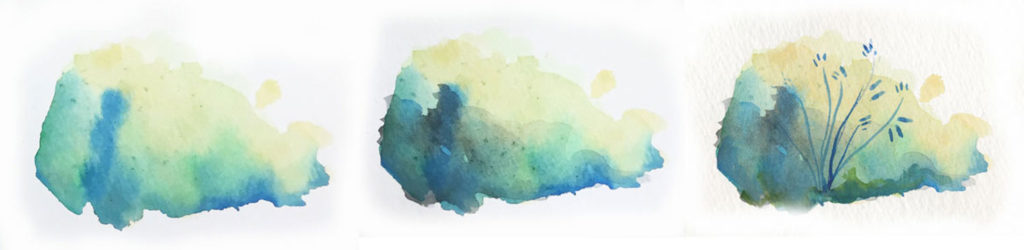 Watercolor is about glazing, adding thin layers on top of each other, and letting the layers dry in between, to create detail, depth, and build in shadows. Check out this helpful (and beautiful!) tutorial.